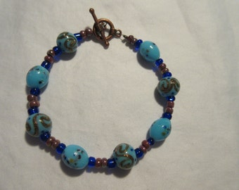 Robin's Egg Blue and Copper glass beaded bracelet