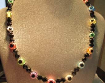 "Multicolored Acrylic ""Evil Eye"" and Black Glass Beaded Necklace"