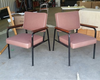 Pair Vintage 1960's Steelcase Paddle Arm Chairs Mid Century Modern Industrial Original Fabric Black Frames MCM