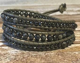 Healing Crystal Bracelet / Chan Luu Style Wrap Bracelet / Healing crystal Jewelry / Chakra Bracelet