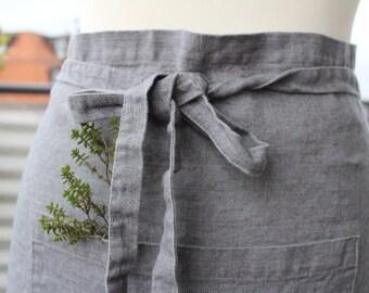 Linen apron, short apron, silver grey color