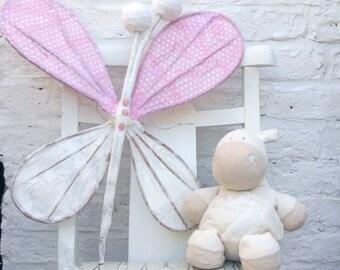 18 x 21 inch pink butterfly, polka dot butterfly, pretty pink, pretty pink butterfly, girls room, girls butterfly, glittery butterfly, arty