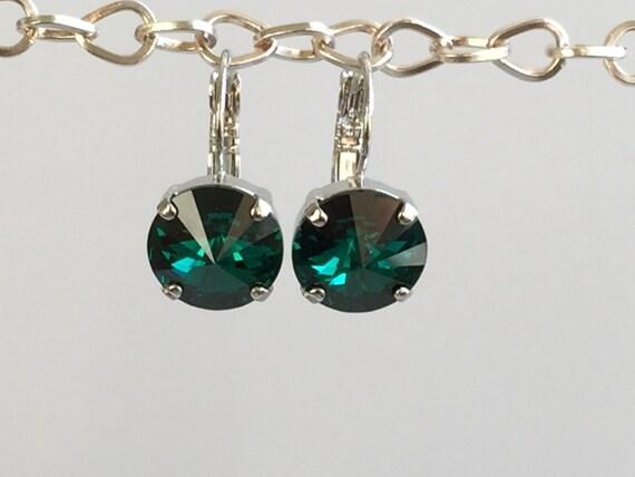 Emerald Crystal Drop Earrings, Swarovski Emerald Earrings,  Emerald Crystal Earrings, Swarovski Green Crystal Earrings