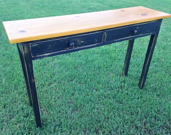 Custom Sofa table / Distressed Painted Entryway Table / Console Table / Hall Table / Sofa Table with Drawers / Desk with Drawers