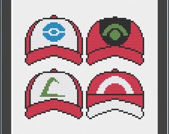 Ash Ketchum Hats - Pokemon - Instant Download PDF - Cross Stitch Pattern - Anime