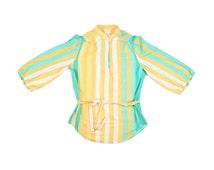 50s / 60s Striped Blouse, Vintage Women's Pastel Shirt, Medium / Large, Puffy Sleeve Shirt, Mandarin Collar, Waist Tie, Oversized Blouse
