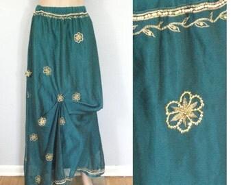 55% OFF February 5 - 7 90s Ethnic Maxi Skirt, Long Skirt, Teal Gold Skir, Embellished Skirt, Avant Garde, Fancy Skirt, Elastic Waist, Beaded
