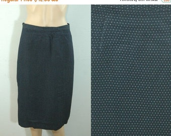 50% OFF Feb 9 - 11 80s Navy Blue & White Polka Dot Skirt • Size Small • Vintage 1980s Below the Knee Pencil Skirt [K]