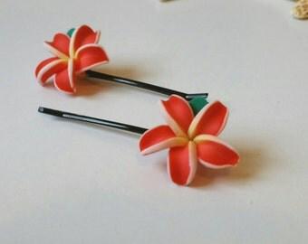 Flower Hair Clips, Hawaiian Flower Hair Accessories,  Plumeria Flower Pins, Beach Mermaid Hair  - SET OF 2