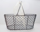 Wire Oyster Basket French Vintage Storage Basket with wooden handle