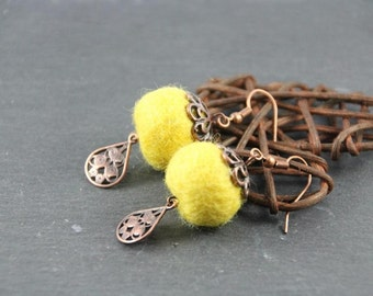 long earrings, yellow felted wool, wood and coppered metal charm