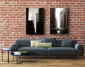 Sunset City Grouping - Photographic Print or Canvas Wrap - Chicago Photography Artwork black and white home decor dramatic contrast