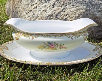 1930s Noritake Gravy Boat with Attached Underplate N40 Cream Band with Floral Sprays, Tan, Pink and Green Scrolls Gold Trim