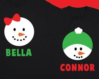 Snowman Shirt Customized Christmas Kids Christmas Shirt Christmas Outfit Toddler Christmas First Christmas Holiday Shirt Personalized