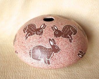 Polychrome Mata Ortiz Rabbit Seed Jar- Signed