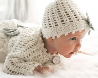 knitted hat and cardigan - hat and cardigan