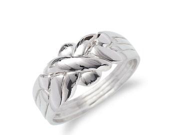 Silver 925k  4 band puzzle ring rare