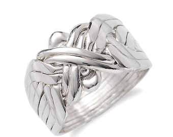 Silver 925k  8 band puzzle ring rare