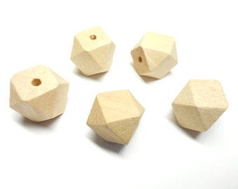 Lot of 5 beads wooden natural form polygon 20 mm