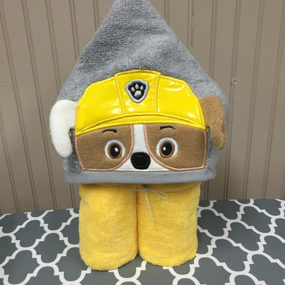 Personalized Paw Patrol Beach Towel: Rubble Construction Pup Child's Hooded Towel By AshAlyDesigns