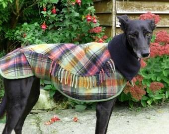 Dog winter coat, Whippet Coat, Wool Blanket Coat,Dog Coat, Scottish Tartan, Custom Made, Polar Fleece Lined Coat, Small Lurcher/Whippet,