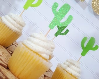 GREEN Ombre Cactus Cupcake Toppers > Fiesta Party > Cinco De Mayo > Final Fiesta Bachelorette Party > Engagement Party > Birthday
