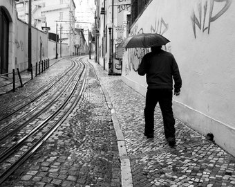 Lisbon photography, travel photography, rain photography, black and white, tramlines, graffiti, grafitti, urban, street photography, decor