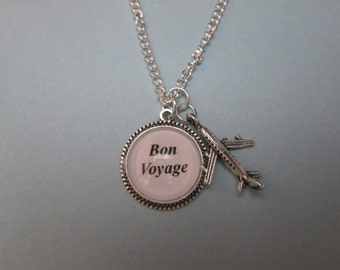 Bon Voyage airplane necklace, love to travel passionate traveler necklace.  # 81221