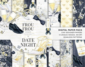 Valentine Paper Pack Wedding Scrapbook Paper New Year Digital Background Engagement Seamless Patterns Love Watercolor Fashion Illustration
