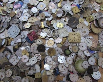 100 pieces. Watch Face Dials, From Old Watch Parts, & Dials For Steampunk Altered Art Gear, Repair, or ScrapBooking