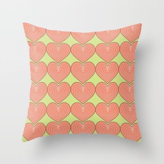 Heart throw pillow Decorative accent couch pillow coral pink