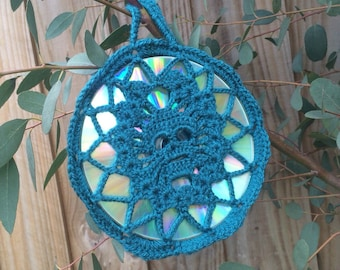 Crocheted Skull CD Suncatcher by GiGi's WunderKammer