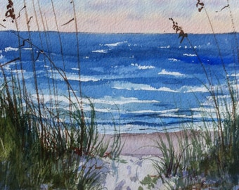 Sea Oats at the Beach  Watercolor Painting 10 x 7 inches