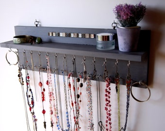 Necklace holder with shelf.Blue GRAY Earrings display. wall mounted necklace storage. Jewelry display. Earrings holder. Necklace storage.