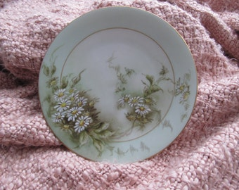 Favorite Bavaria side plate/ daisy flowers/ pale green back ground with gold trim