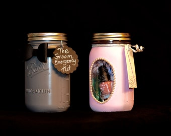 Bride and Groom Mason Jar Emergency Kits