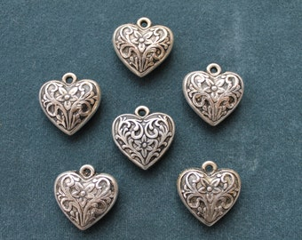 Vintage antique silver plated large heart.  Made in USA, 2 sided, 26x28mm, qty. 6  CC76