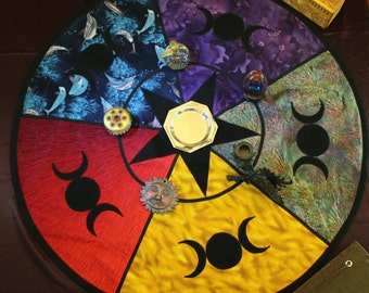 Wiccan/Pagan Triple moon/star Lined Altar Cloth