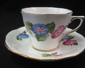 Vintage Fine Bone China Teacup and Saucer with Pink and Blue Morning Glory Flowers