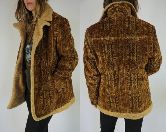 Vtg 60s Mod Tapestry Sheepskin Shearling Coat By Lakeland
