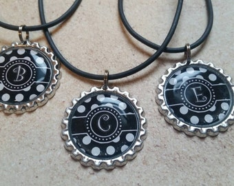 Initial A - Z bottlecap necklaces