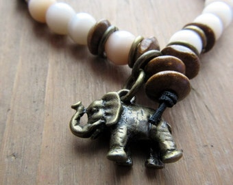 Pearl bracelet and charm elephant antique bronze