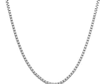"""Solid 10K White Gold Box Chain 24 """" Inch Brand New Men Women Made in Italy"""