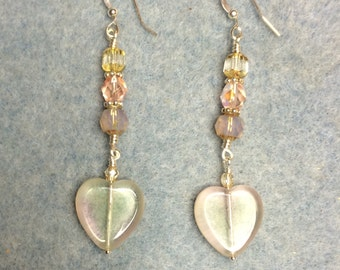 Light pink and yellow Czech glass heart bead dangle earrings adorned with light pink and yellow Czech glass beads.