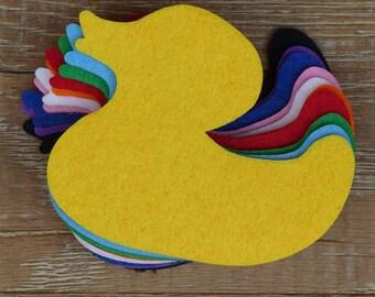 10 x 3mm Felt Rubber Duck Craft Shapes Sizes 6-15cm. 11 Colours