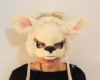 Lamb/Sheep face mask handmade to order masks, masks, festival headdress, facemask, animal characters, folk art, sheep mask, needle felt.