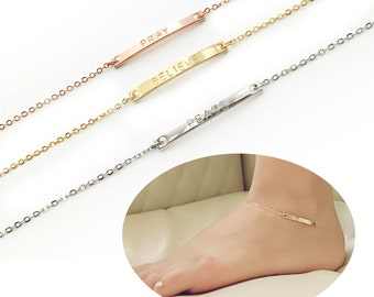 Personalized Anklet Gold Anklet Bar Anklet Body jewelry Skinny Bar Anklet summer ourdoors Bridesmaid gift - 2A