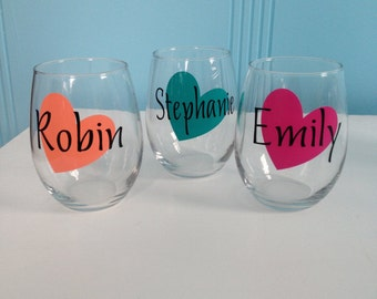Personalized Stemless Wine Glass - Heart - Perfect for Bridesmaids gifts