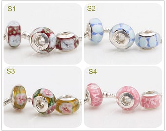 8x14mm Big Hole Bead 925 Silver 4.5mm Hole Lampwork Glass Bead Design Bead Fit European Charm Bracelets Big Hole Bead DIY Bead