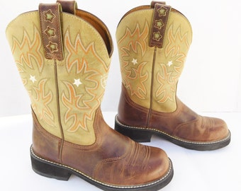 Ariat Cowgirl brown Cowboy western ankle Boots Size 7.5 B